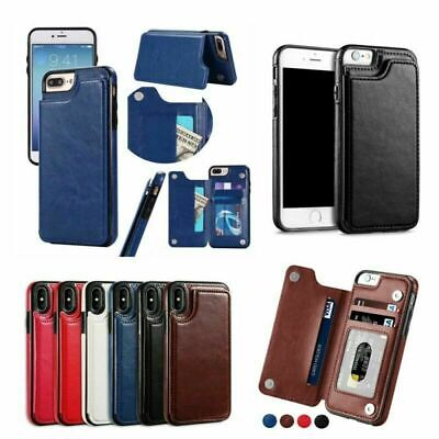 For Apple iPhone XS Max XR X 8 7 6S Case Leather Wallet Card Holder Flip Cover