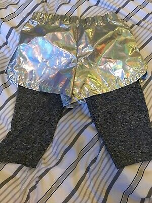 Next - Girls 2 In 1 Disco Holographic Shorts + Grey Leggings - Age 9 - Bnwt
