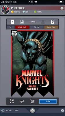 Topps Marvel Collect Digital Marvel Knights Black Panther 1 First Printing 250cc