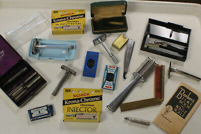 Large Lot of Vintage Razors and Blades Micromatic Gillette