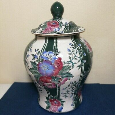 """Wonderful Antiques Chinese Porcelain Ginger Jar 9"""" high Hand Painte Rose famille"""