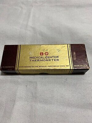 VINTAGE B-D Medical Center Fever Thermometer Box And Case Only!