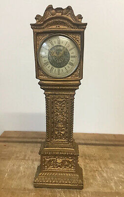 "Old Antique Vintage Miniature Long Case Grandfather Mantle Clock 11"" Working Gb"