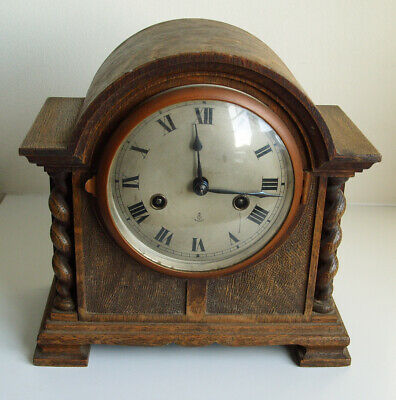 Antique German 'Gustav Becker' Oak Cased Mantel Clock