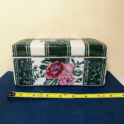 Antique Chinese Hand Painte Rose Famille Porcelain Lidded Ink Box Container