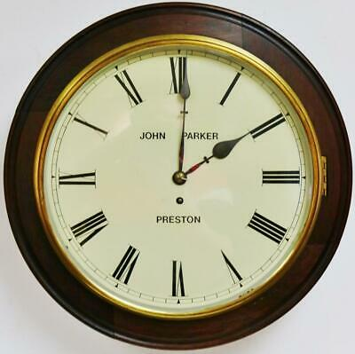 "Antique English 8 Day Single Fusee Solid Mahogany 18"" Dial Wall Station Clock"