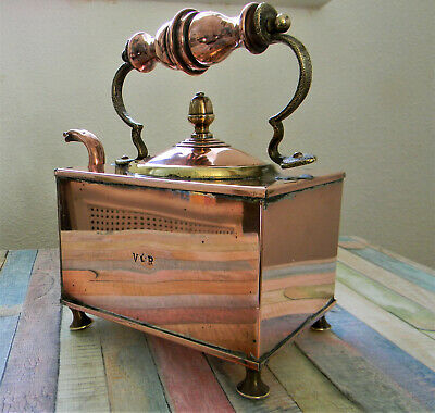 Early 19th Century Victorian Copper & Brass Square Footed Kettle