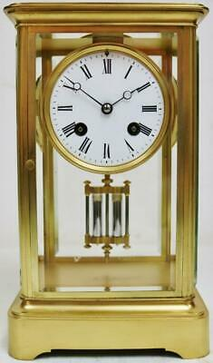 Stunning Antique French 8 Day Bell Striking 4 Glass Table Regulator Mantel Clock