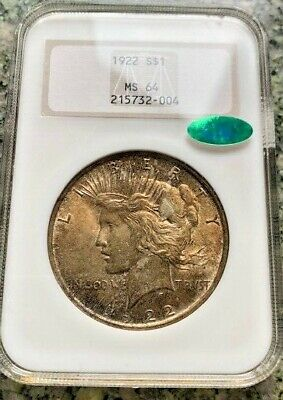 1922 $1 Silver Peace Dollar Toned Ngc & Cac Ms64 Fatty Holder