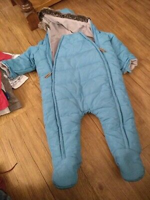12-18months Blue Snowsuit  all in one with fur trim