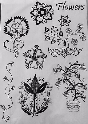 Unmounted Rubber Stamp Sheet. A5. Funky Flowers.