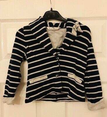 Matalan True Love Girls Aged 4-5 Years Navy Blue And Grey Striped Cotton Jacket