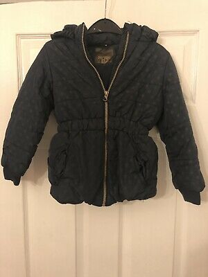 Girls Aged 5-6 Years Dark Navy Blue Dotted Hooded Winted Coat Zip Fastening
