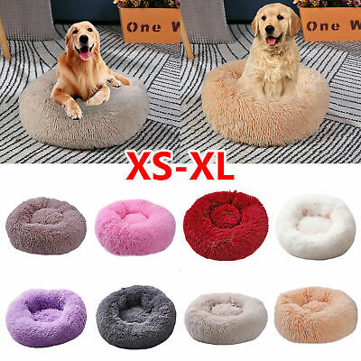 XS-XL Pet Dog Cat Calming Bed Warm Plush Round Nest Comfy Sleeping Kennel Cave