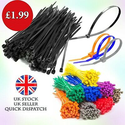 100 or 50 Cable Ties Black & Natural Cable Tie Wraps / Zip Ties 5 mm X 250 mm