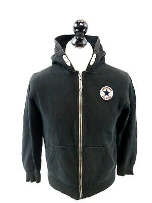 CONVERSE Boys Hoodie Jacket 12-13 Years L Large Black Cotton & Polyester