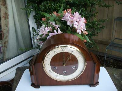 Smiths 8 Day Westminster Chiming Mahogany Mantel Clock. 1955. Fully Overhauled