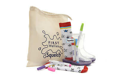 Squelch Childrens Welly Boot Sock Colouring Package - Kids Socks, Pens, Wellies