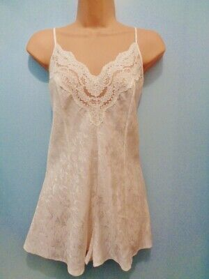 J14 Vtg St Michael Ivory Satin Sheer Lace Teddy Camiknickers Playsuit 12/14 38""