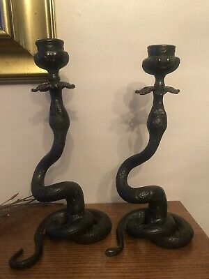 Incredibly Rare Pair Of Antique Bronze Snake Serpent Tall Candlesticks