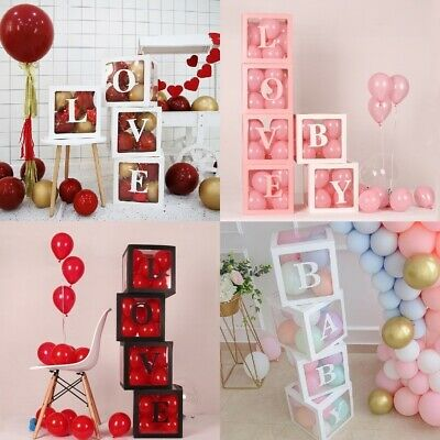 4Pc Baby Shower Party Decorations Transparent Cardboard Box Valentines Day Gift