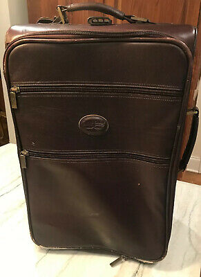 """Claire Chase Pullman Dark Brown Cognac Leather Carry On Rolling Suitcase 22"""""""