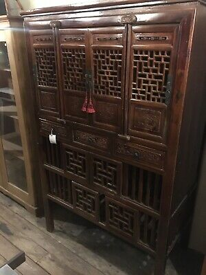 Solid Elm Wood Genuine Asian Antique Cabinet Carved Floral Chest Drawer Handmade