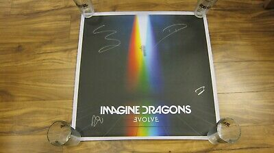 IMAGINE DRAGONS EVOLVE AUTOGRAPHED 2017 24x24 LITHOGRAPH POSTER SIGNED BY ALL 4