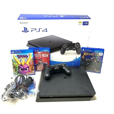 Sony PlayStation 4 Slim Black 1TB Video Game Console 2215B + 3 Games Spyro PS4