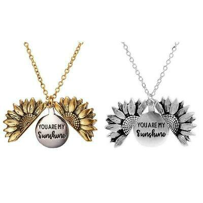 You Are My Sunshine Open Locket Sunflower Pendant Necklace Unisex Jewelry US