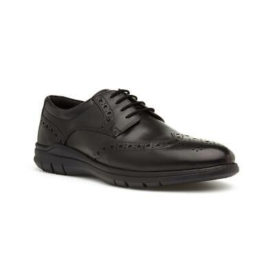 Silver Street Mens Black Leather Lace Up Brogues with Gripped Sole