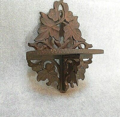1950s French Antique BLACK FOREST carved WOOD  wall SHELF