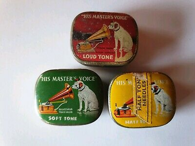 """Antique - Vintage Three 'His Masters  Voice"""" Gramophone Needles Tins All Empty."""