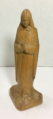 """ANTIQUE Hand Carved MARY MADONNA PRAYING WOOD STATUE 10"""""""