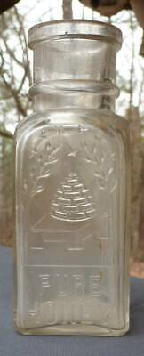 SQUARE HONEY BOTTLE-Embossed Bee Hive-Small Size-1890s