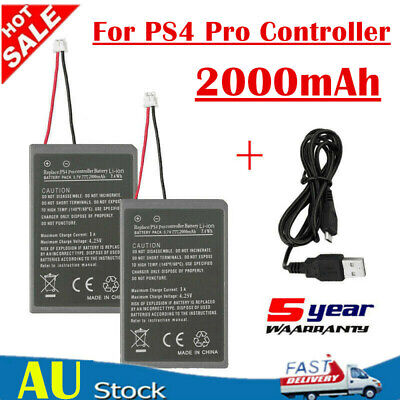2X 2000mAh Rechargeable Battery For PS4 Pro Game Controller Playstation + Cable