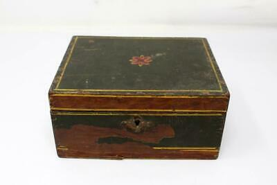 1850's Antique Old Rare Wooden Hand Carved Painted Jewelry Storage Box