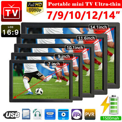 "7''/9''/10''/12''/14""  Digital Portable 12V TV Television 1080P Video LED/USB/AV"