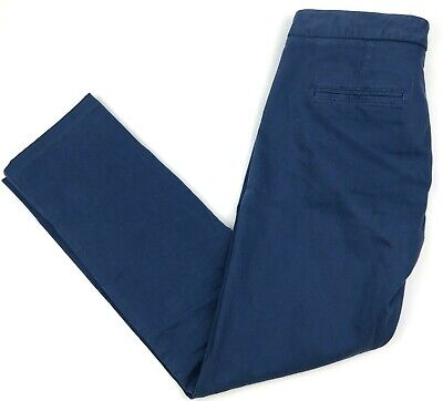 Theory Womens 2 Dress Pants Blue Tapered Slim Leg Career Trousers Ankle Crop