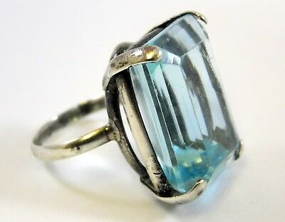 Vintage Art Deco Sterling Silver Cut Blue Glass Ring Size 8 925 Cocktail Style