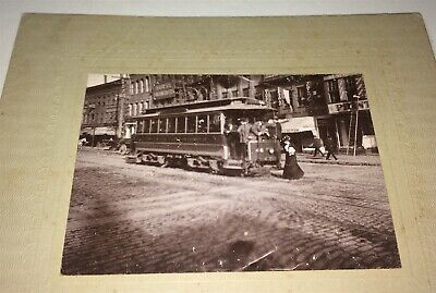 Rare Antique American Street Catching Trolly! Bicycle Shop Mini Cabinet Photo US
