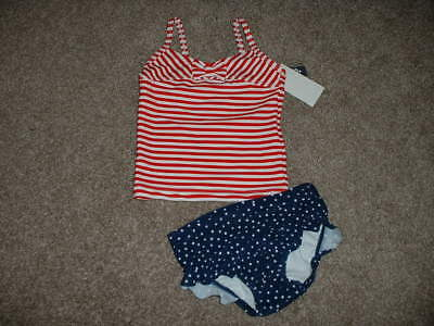 NWT The Childrens Place Girls Patriotic Ruffle Tankini Swimsuit 4th of July