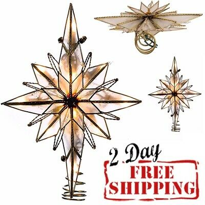 Christmas Star Tree Topper 10-Light Lighted Treetop Capiz Holiday Xmas Ornaments
