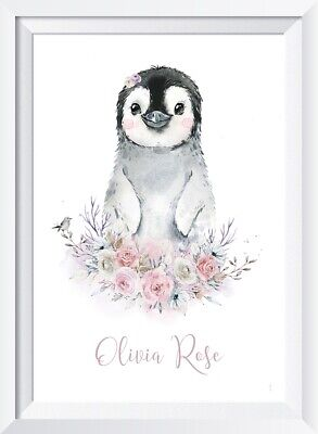 Personalised baby girl penguin print picture nursery walldecor gift christening