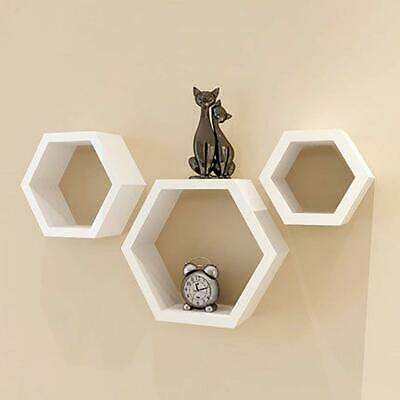 Set Of 3  Floating Cube Shelves Wall Hanging Storage Display Home Decor WHITE
