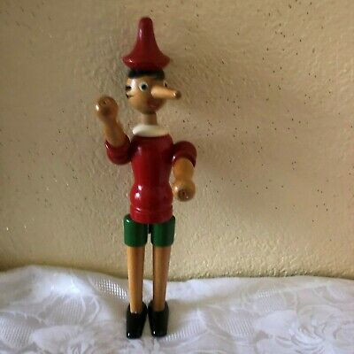 "Vintage Wood Pinocchio Figure Toy Jointed Shoulders, Head, Hips. 12.5""."