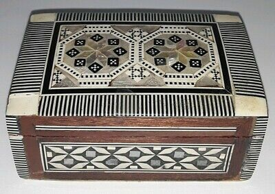 Mother of Pearl Inlaid Mosaic Jewelry Box Desert Design Made in Eygpt vintage