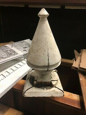 "HUGE c1880 wooden spire finial old crackled white paint 14"" h x 7"" diameter"