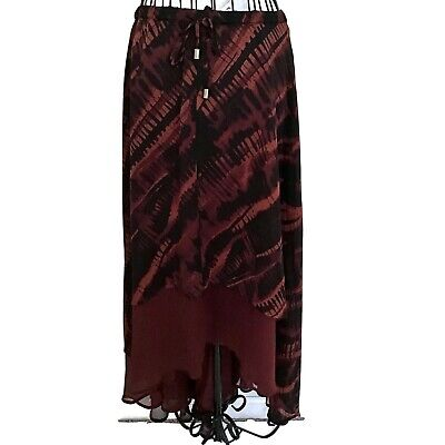 NWT Lane Bryant Collection Asymmetric Print Maxi Skirt Brown Black Lined Size 18