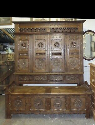 Genuine Solid Oak Antique French Carved Cabinet And Matching Bench